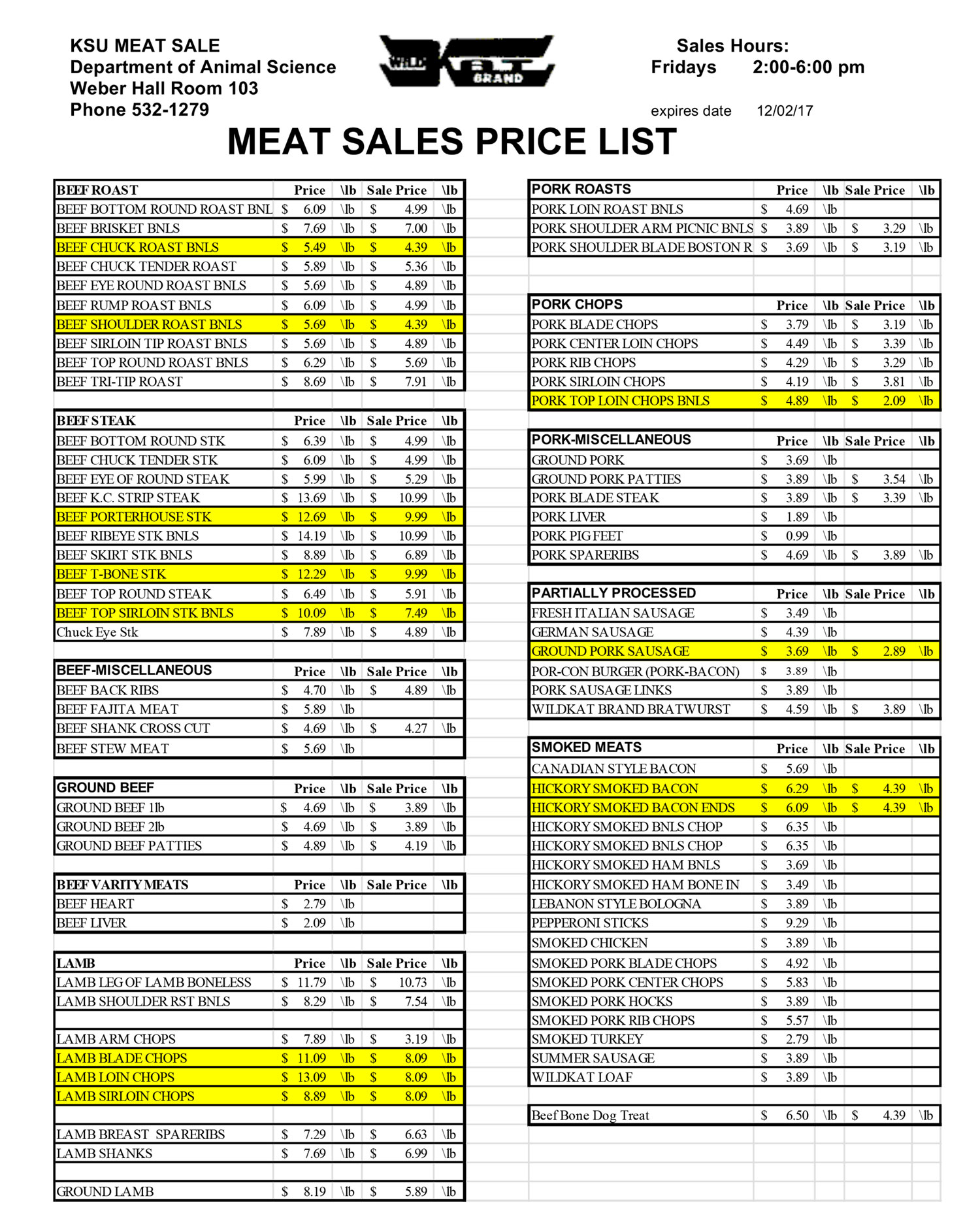 KSU Meat Sale